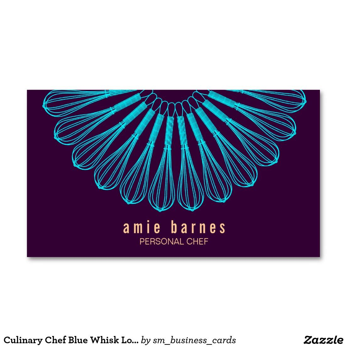 Culinary Chef Blue Whisk Logo Purple Catering Business Card. Artwork ...