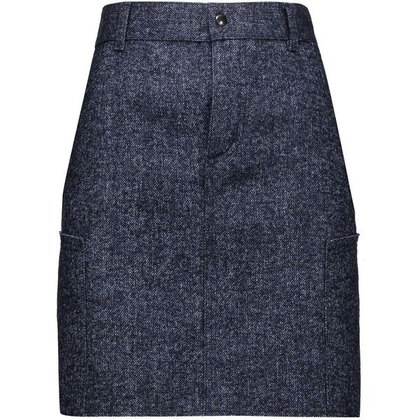 TOM FORD Denim-tweed mini skirt (12.389.580 VND) ❤ liked on