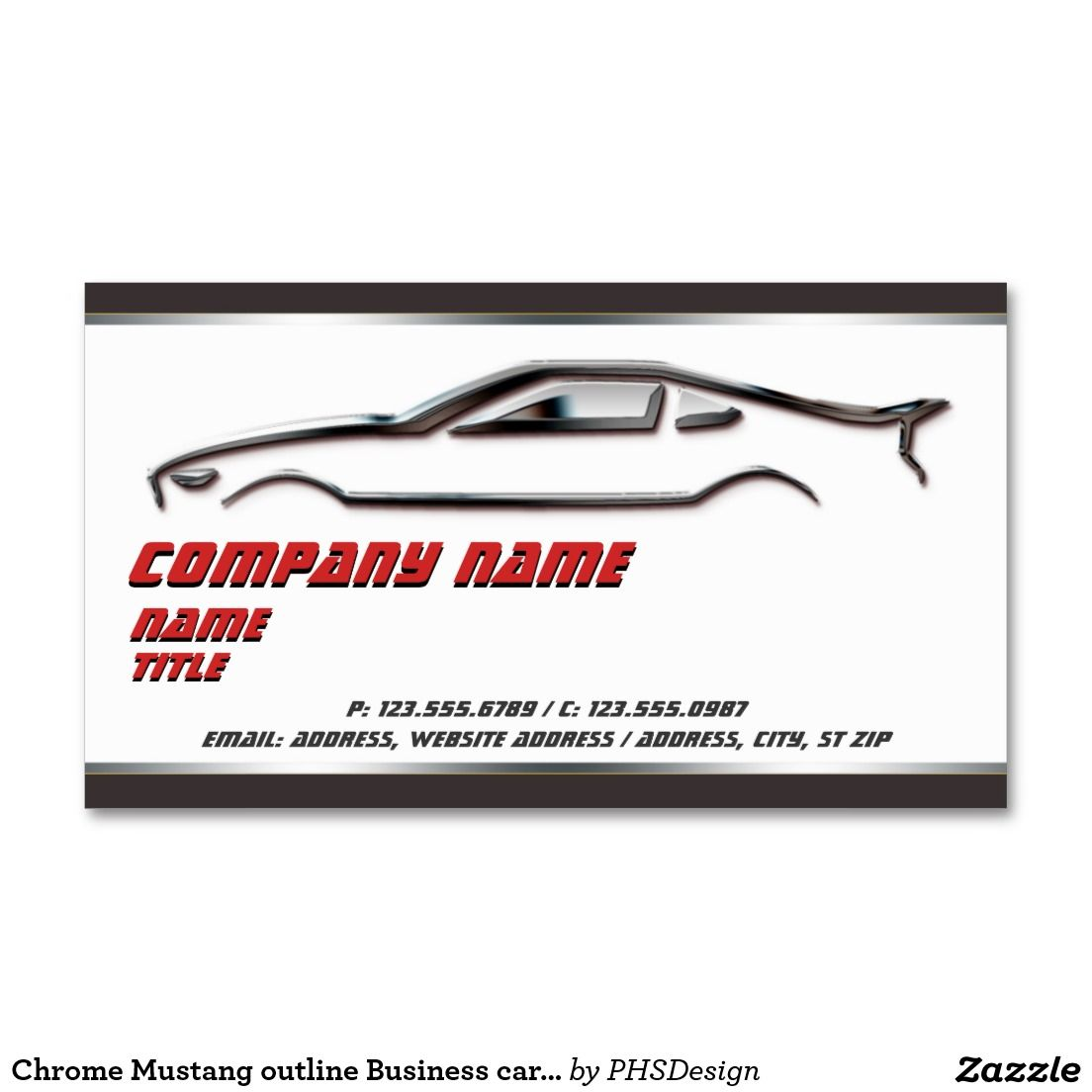 Chrome Mustang outline Business cards | Business Card Templates ...