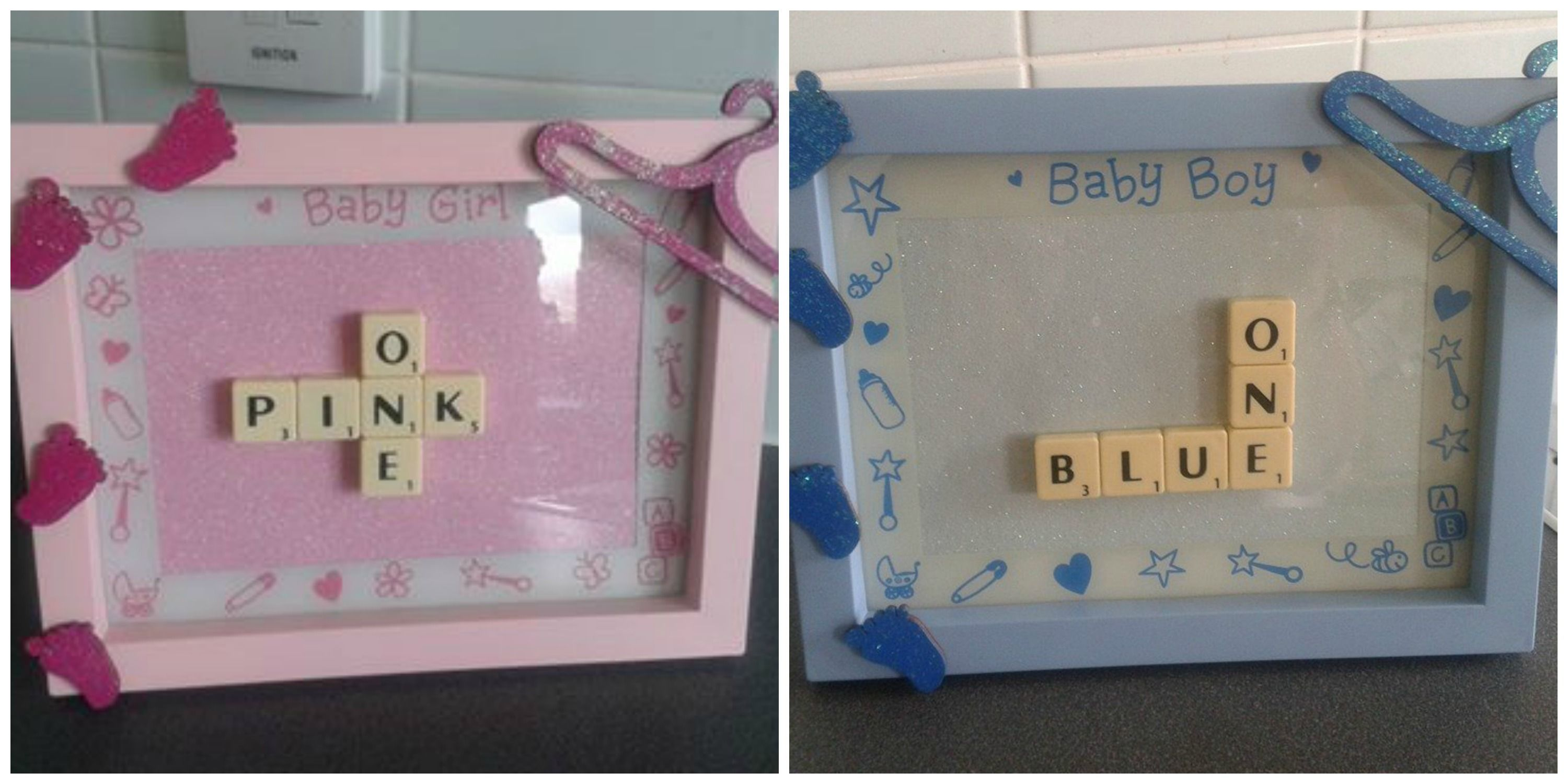 scrabble art blue one pink one pictures The Supermums