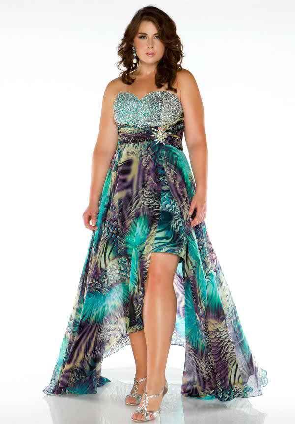 Elegant Rhinestone Embellished Formal Hi-Low Plus Size Evening ...