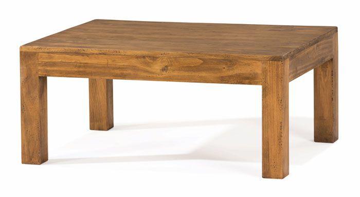 Mesa de centro sencilla de estilo rustico muebles en for Muebles de madera maciza precios