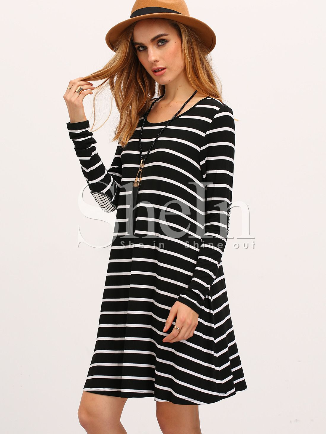 0e3705ec92c Shop White Black Long Sleeve Striped Dress online. SheIn offers White Black  Long Sleeve Striped Dress   more to fit your fashionable needs.