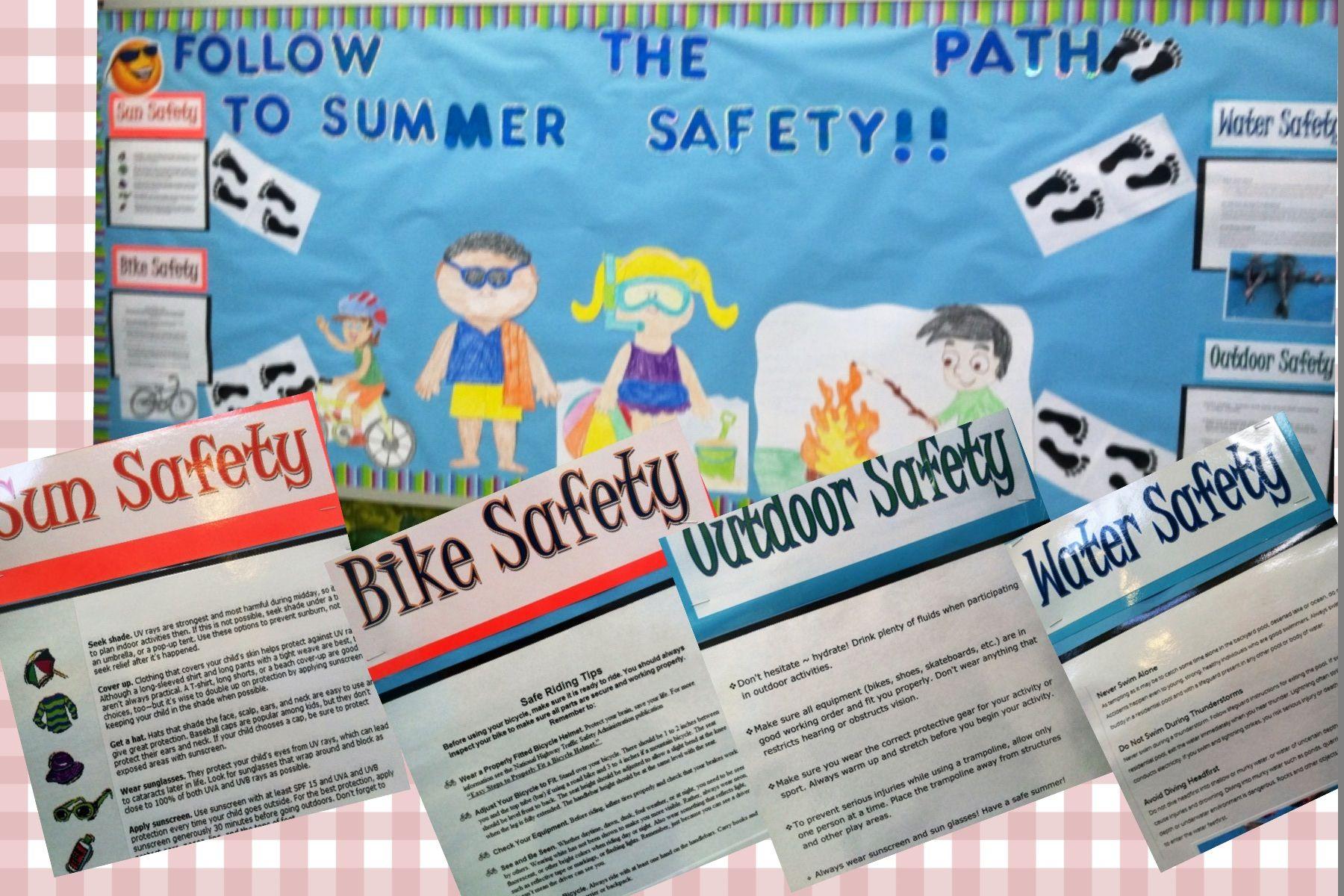 Summer Safety Tips Bulletin Board Sun, Bike, Water