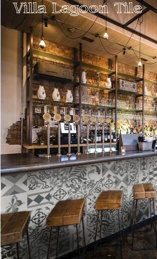 Black And White Patchwork Tile On Front Of A Bar Home Bar Decor