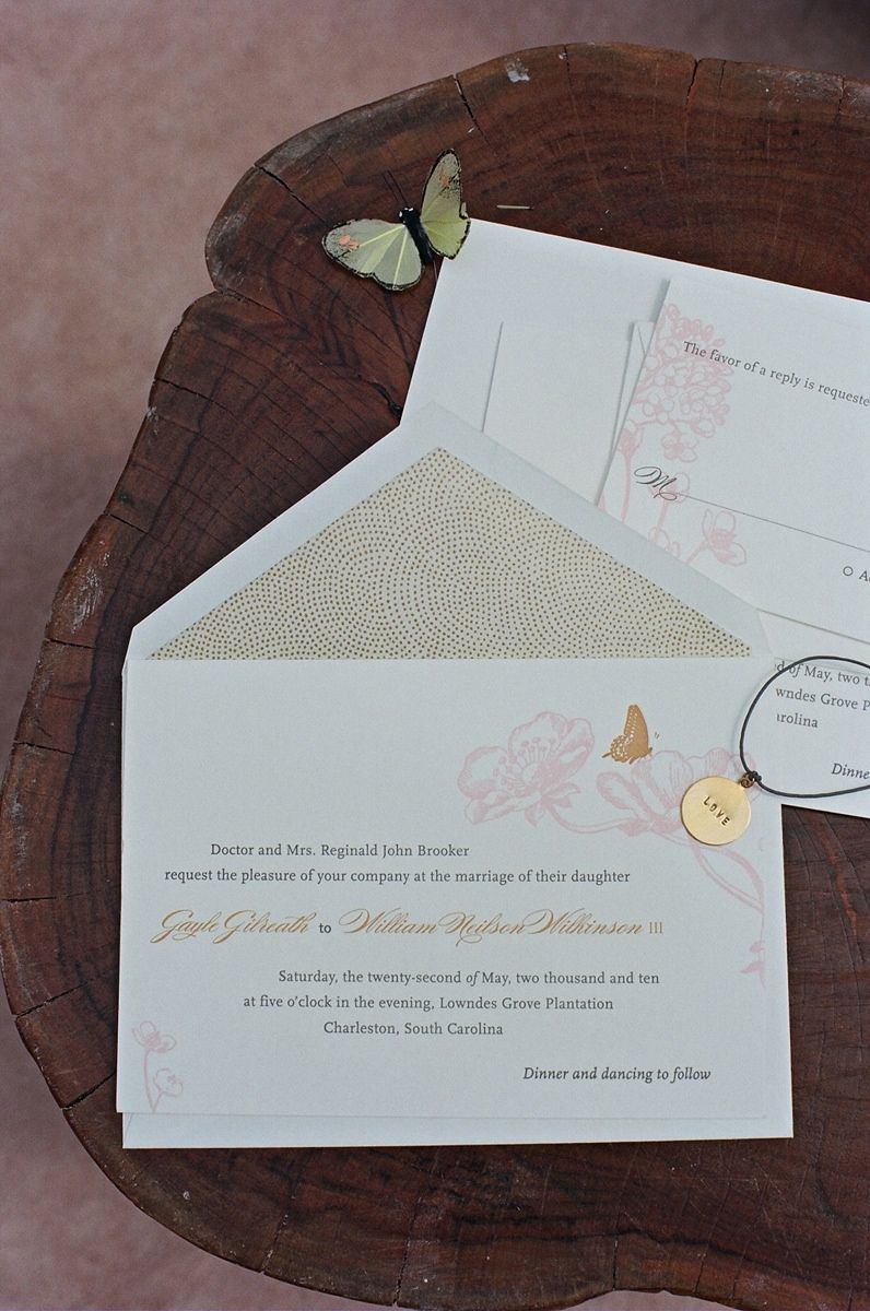 address wedding invitation unmarried couple%0A Butterflies Bring Good Luck to Charleston Wedding at Lowndes Grove