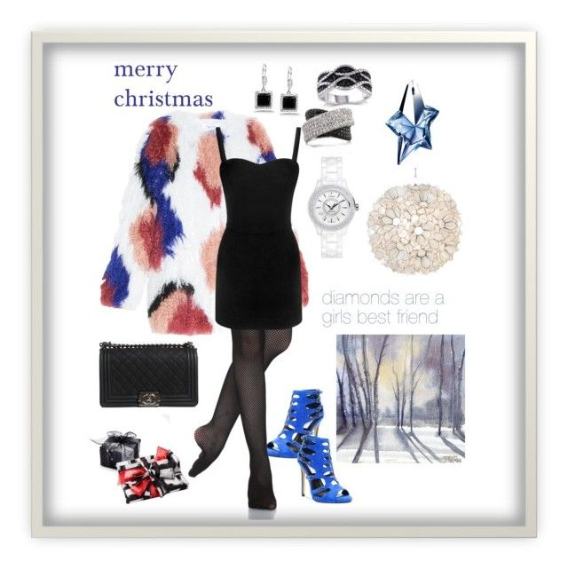 """""""Merry Christmas #4"""" by queenchelleisboomkoo on Polyvore featuring Chelsea & Zoe, Elizabeth and James, Alexander McQueen, Chanel, Mark Broumand, Kobelli, Worlds Away, Thierry Mugler and Christian Dior"""