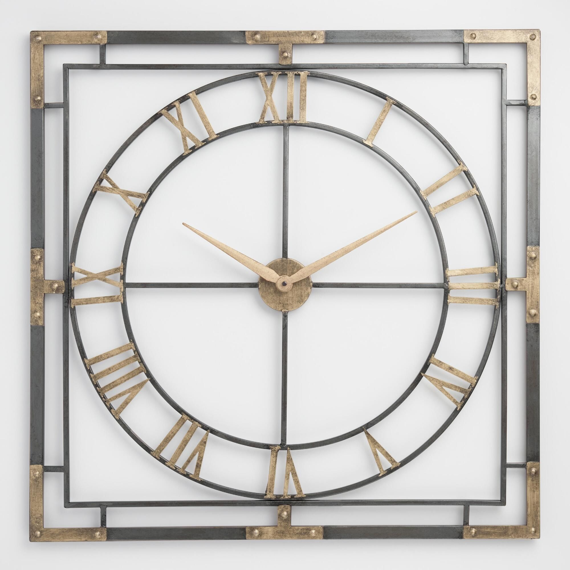 Square Black And Gold Wall Clock By World Market Contemporary Wall Clock Wall Clock Clock Wall Art