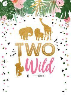 Two Wild Safari Gold Girl Animals Birthday Party Invitation | Zazzle.com