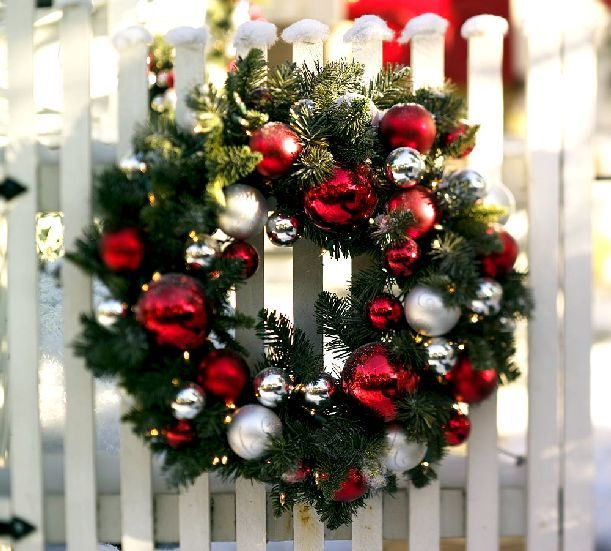 Decorating Wreath With Christmas Balls Outdoor Ornament Pine Wreath Christmas Decor  Wreaths  Pinterest
