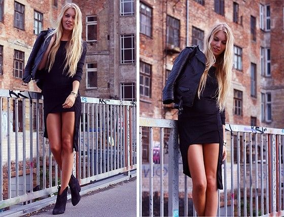 Dress, H&M Leather Jacket, Zara Boots