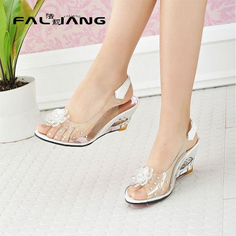 9452e77be1e53 2016 Hot Sale Crystal Wedges Transparent Women high-heeled Sandals Plus Size  40-43 rhinestone Peep Toe Jelly Shoes AA016  JellyShoesCrystal