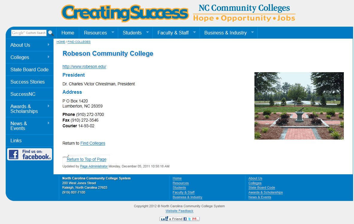 Robeson Community College Community College College North Carolina Colleges