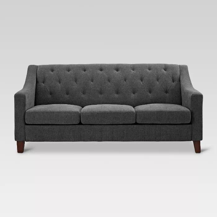 Felton Tufted Sofa Gray Threshold Family Room Design Small