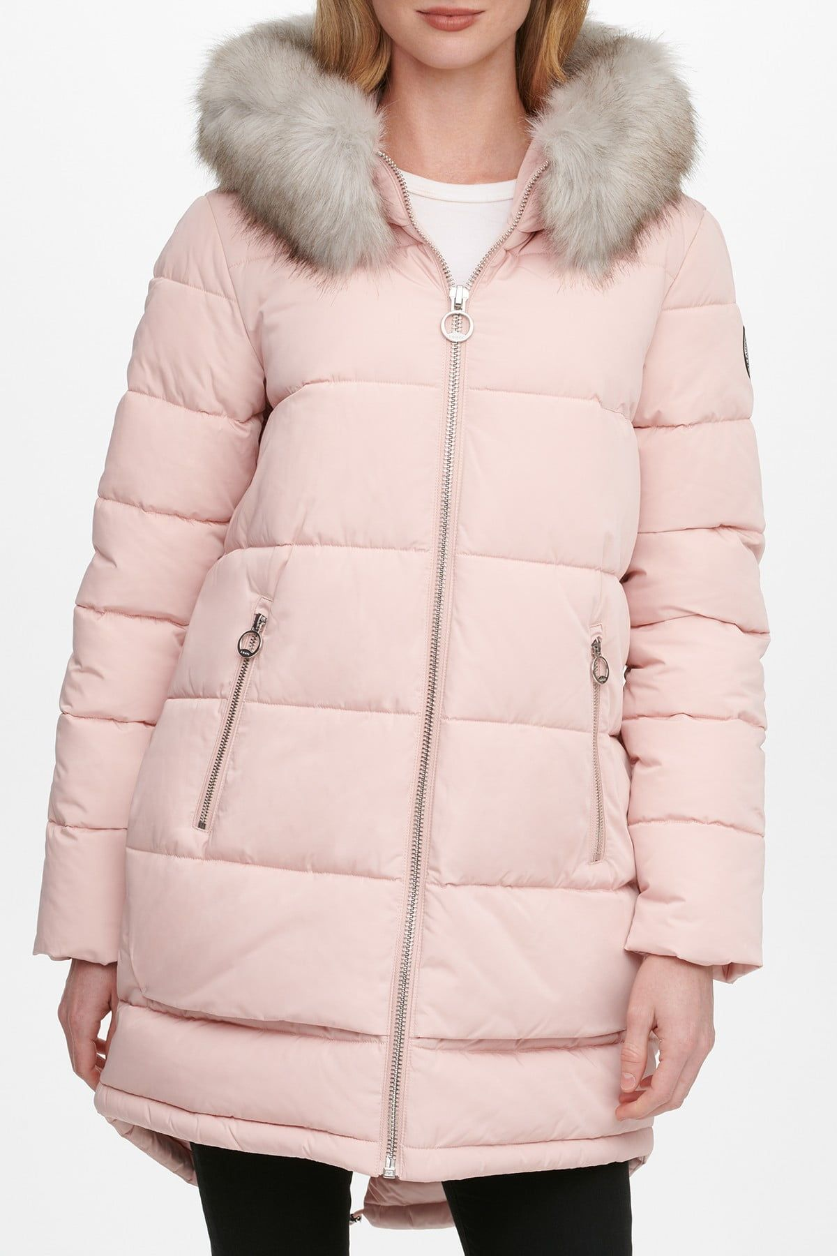 Dkny Zip Front Puffer With Faux Fur Trim Hood Nordstrom Rack Coats For Women Puffer Coat Fur Trim [ 1800 x 1200 Pixel ]