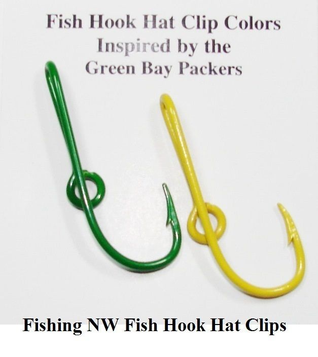 Green Bay Packers Inspired Colored Fish Hook Hat Clips Pins Fishingnwhatpin Colorful Fish Hat Clips Green Bay