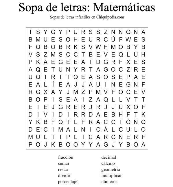 sopa letras matematicas | ACTIVIDADES EXTRAS | Pinterest