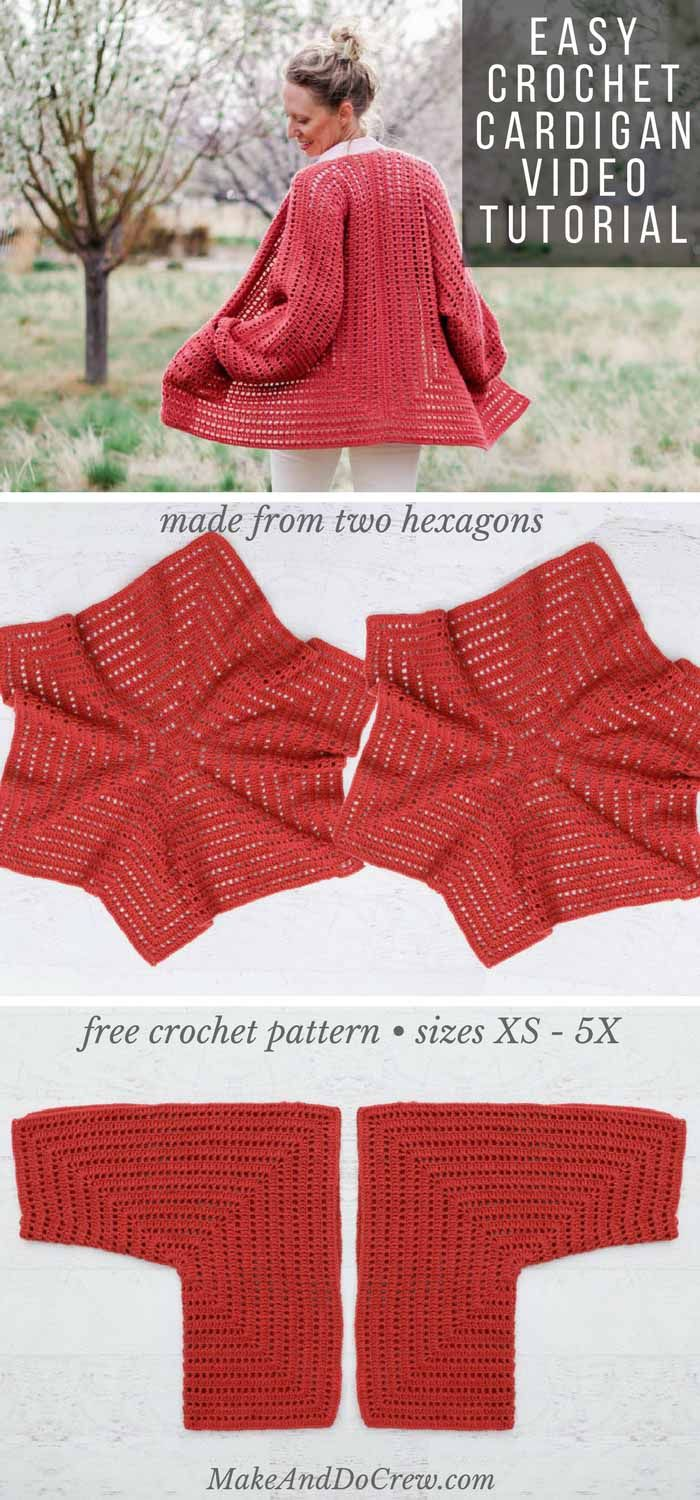 Easy Crochet Cardigan Video Tutorial - free pattern made from two hexagons #sweatercrochetpattern