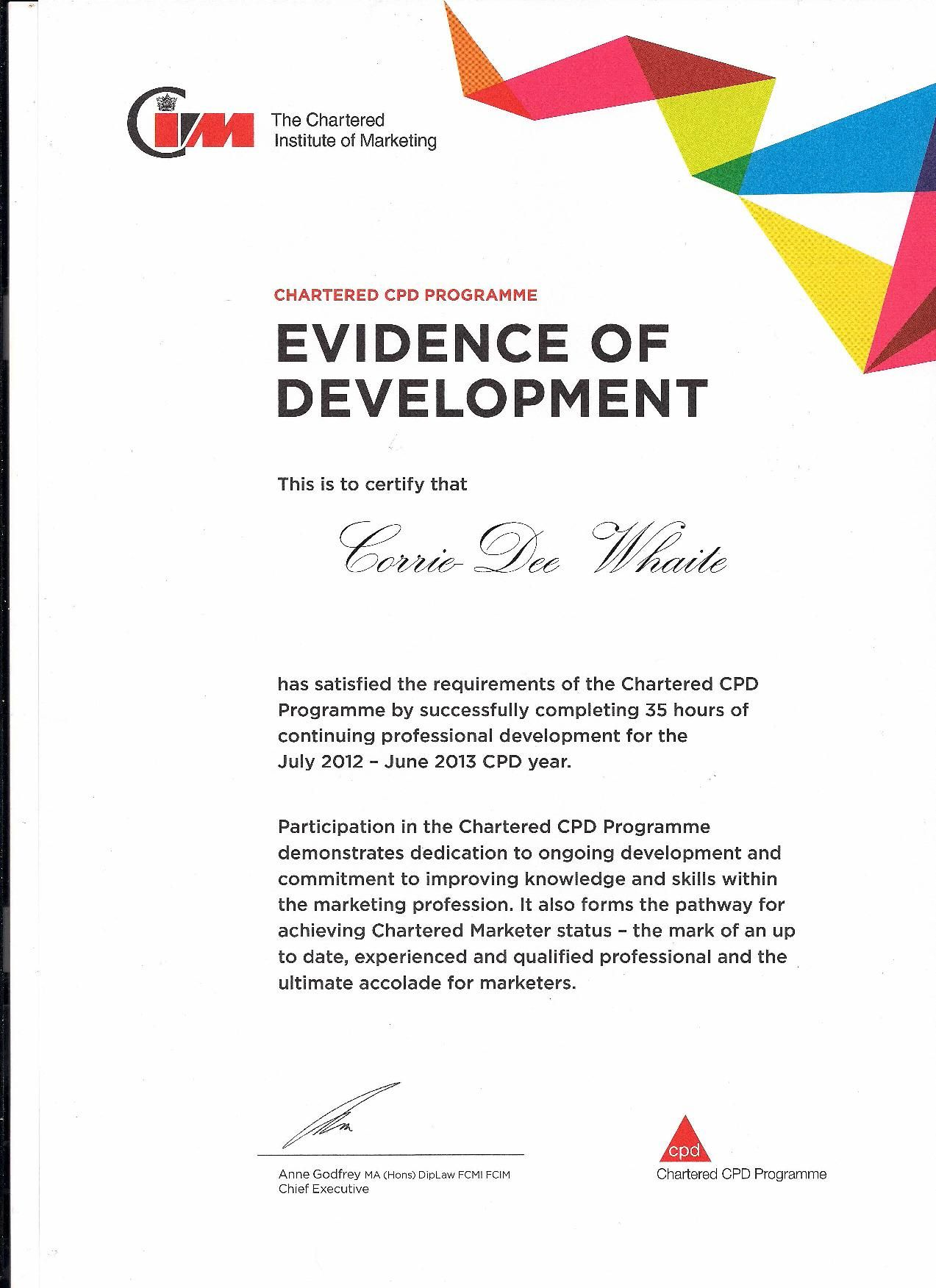 CPD Certificate Of Professional Development From CIM Chartered