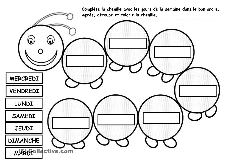 LA CHENILLE DES JOURS DE LA SEMAINE in 2018 | pour les petits ...