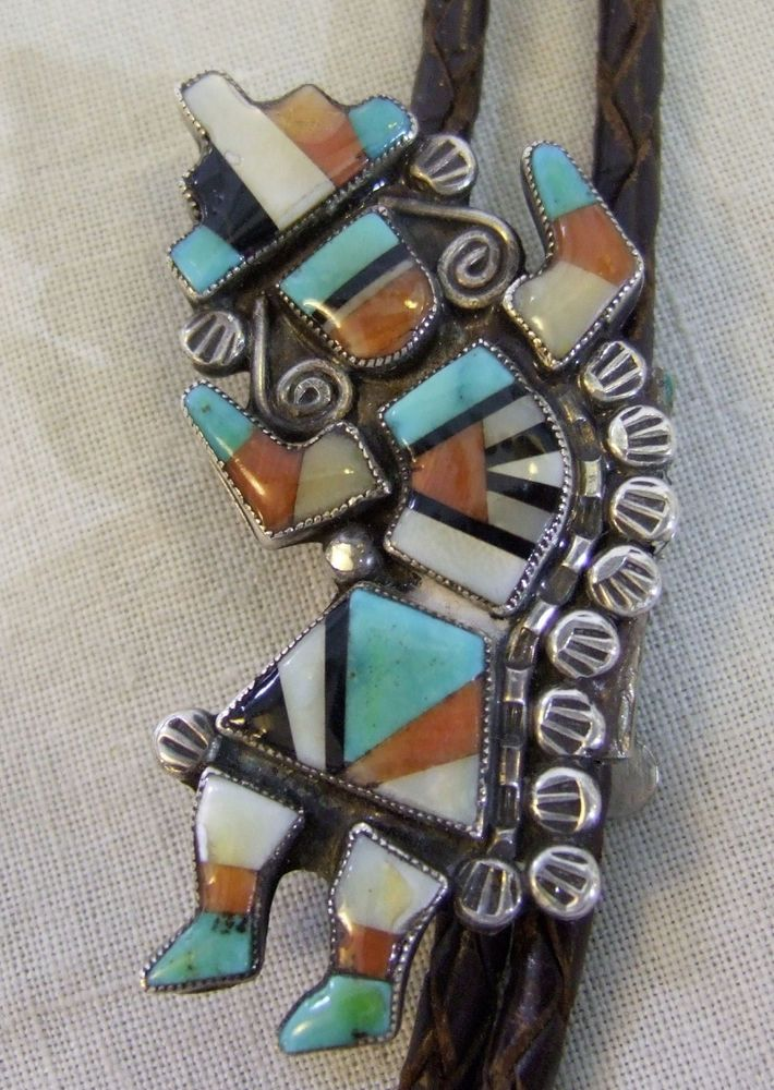 Vintage 70's Sterling Turquoise Zuni Rainbow Man Indian Bolo