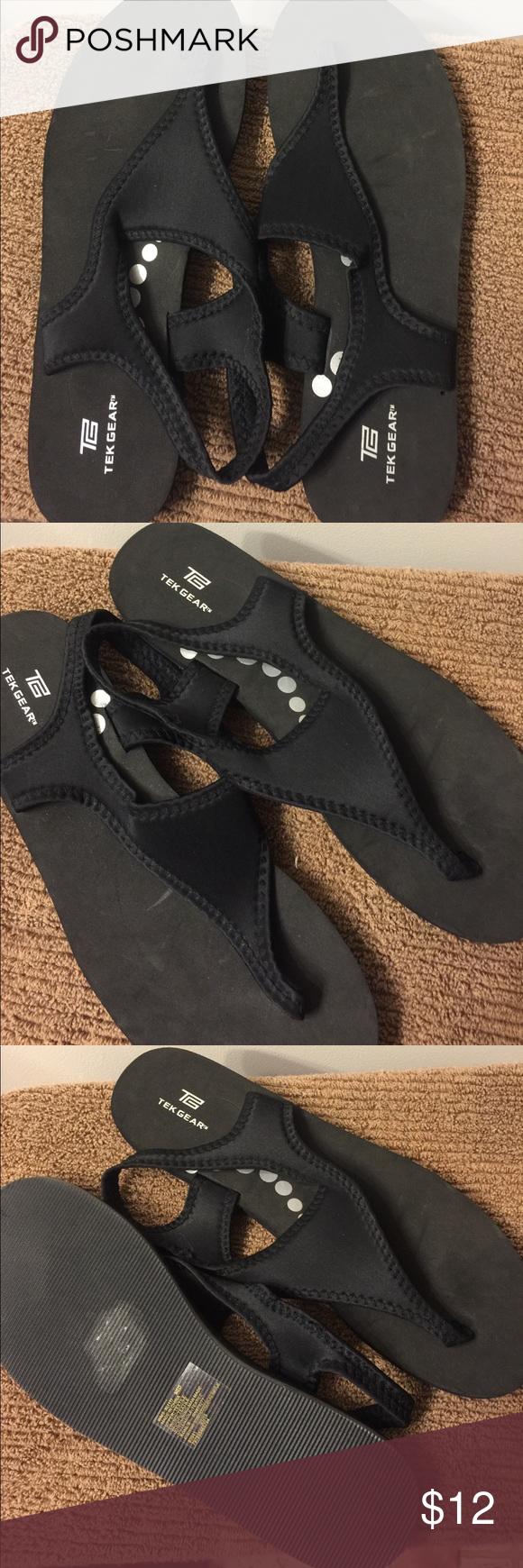 Black sandals size 11 - Tek Gear Lightweight Sandals Size 11 12 Tek Gear Black Lightweight Thong Flip Flops Size 11