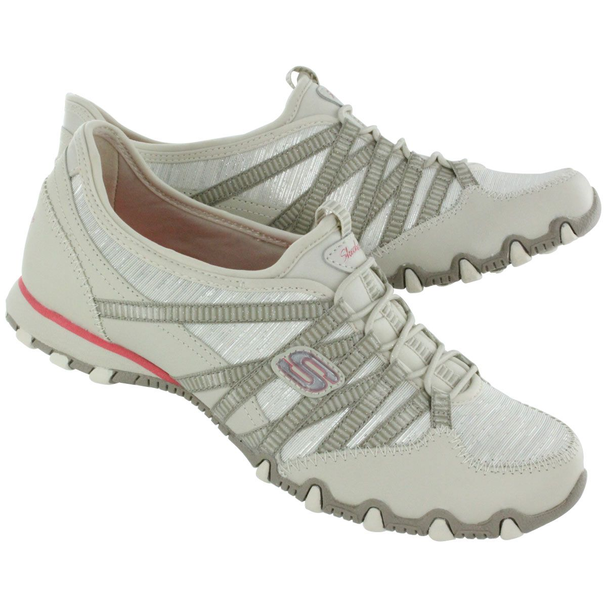 the best attitude 12cc9 5b637 Skechers Women s Bikers SPARKLING natural bungee shoes 22353 NTSL