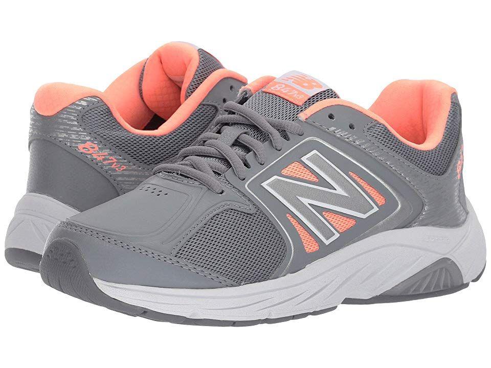 Grey/Pink) Women's Walking Shoes. Lace