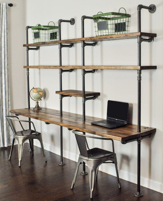 industrial desk and shelf unit 8 39 and 10 39 by baxterhouse on etsy home furniture. Black Bedroom Furniture Sets. Home Design Ideas