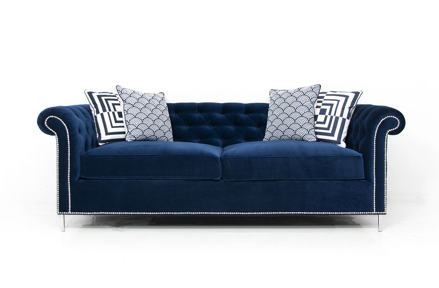 modern victorian sofa dundee gumtree roosevelt in regal navy velvet furniture seats