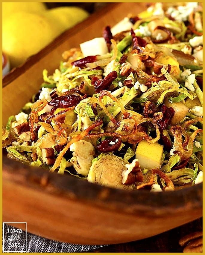 Fall Shredded Brussels Sprouts Salad (Video) - Iowa Girl Eats #buffalobrusselsprouts
