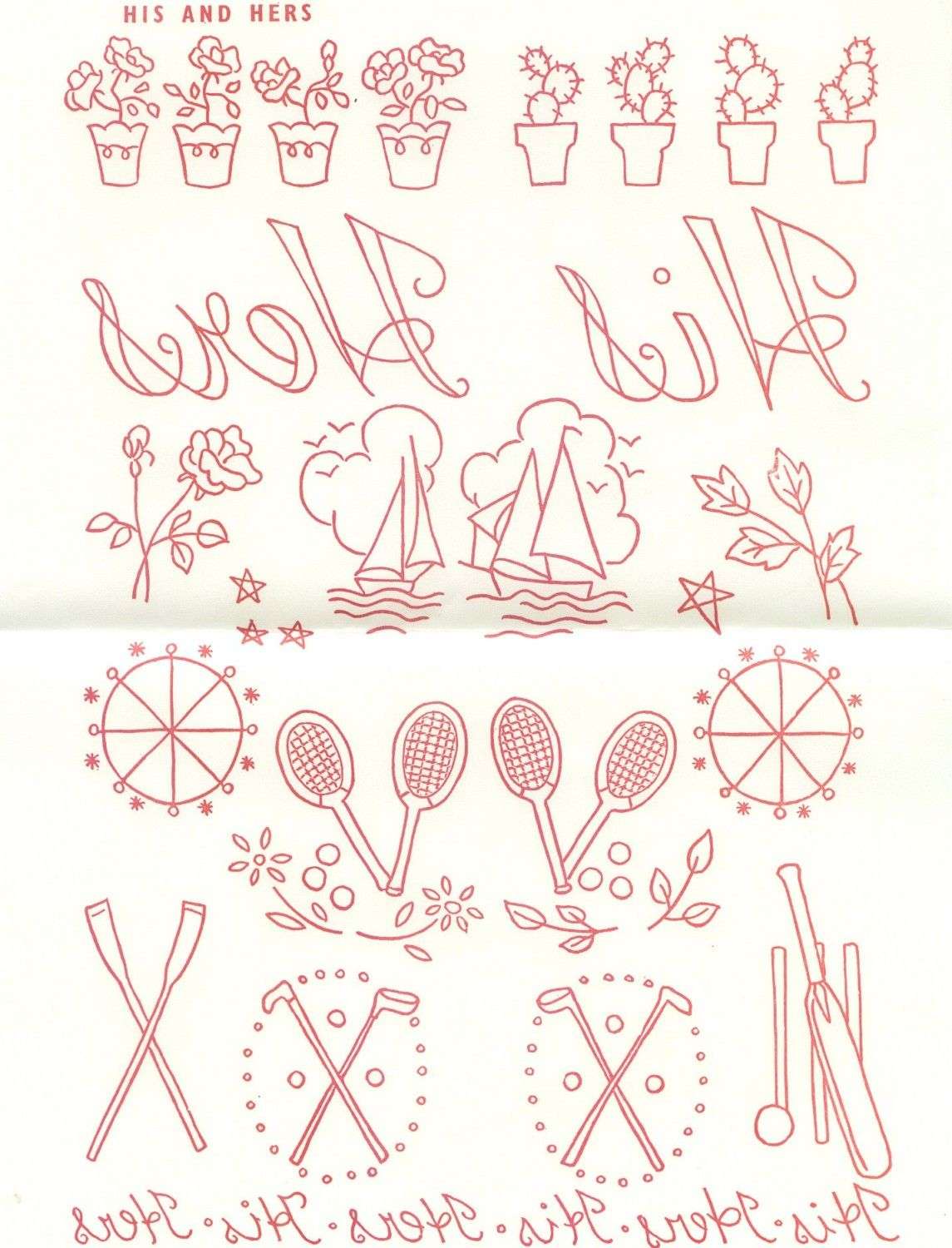Vintage 1950s transfer his and hers embroidery pattern vintage 1950s transfer his and hers embroidery pattern couples embroidery pattern transfer bankloansurffo Gallery