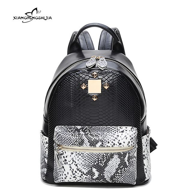 814d314b29a 2017 New Cow Leather Women Backpack Female Fashion Rucksack Brand Designer  Ladies Snake Back Bag Rivet Large Capacity School Bag     Learn more by  visiting ...