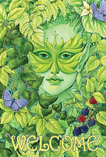 Toland Home Garden Dryad Butterfly Welcome 28 X 40 Inch Green Man Art Painting