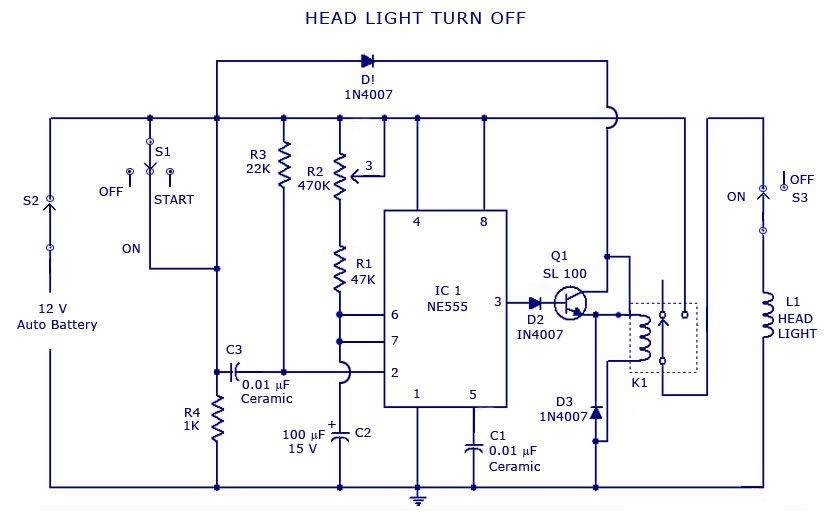 Automatic head light turn off circuit diagram | Electrical