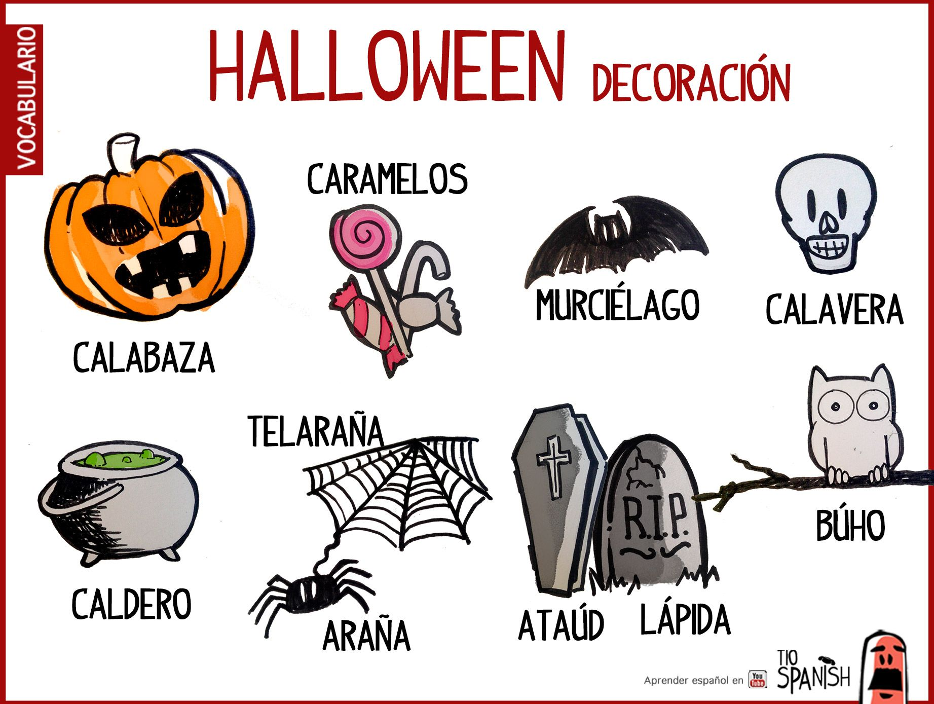 Vocabulario Halloween Espa 241 Ol Decoraci 243 N Halloween