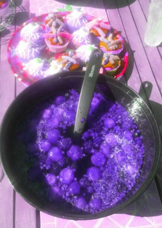 Witches Brew- berries, black current juice and lemonade. Parents Version - add Vodka!