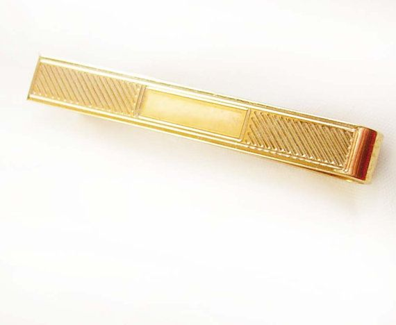 Vintage 14kt gold plate Tie Clip Signet Engravable Personalize Blank Gold Filled Tie accessory money clip