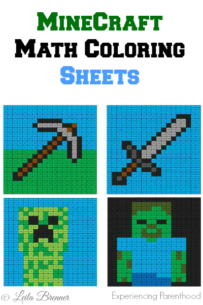 Printable Math MineCraft Coloring Sheets For The Kids