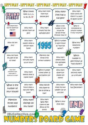 Numbers Board Game High School Board Games English