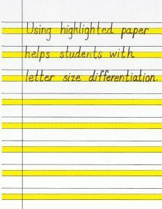 for Improving Handwriting Using highlighted paper and other strategies for improving handwriting. Free printable.Using highlighted paper and other strategies for improving handwriting. Free printable.