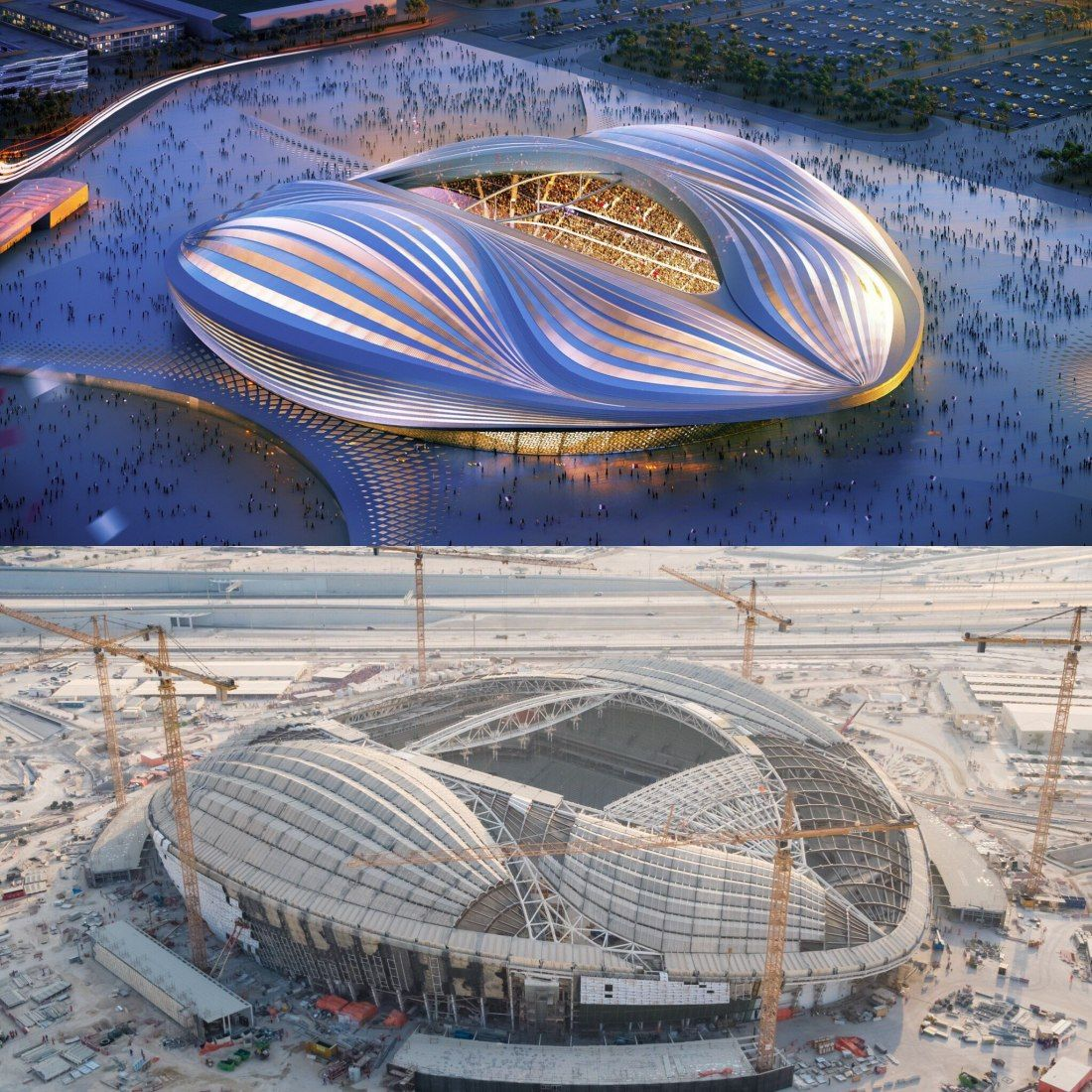 Rendered Vision Current Construction Progress Image Courtesy Of Supreme Committee For Delivery Legacy In 2020 World Cup Stadiums Zaha Hadid Stadium Design