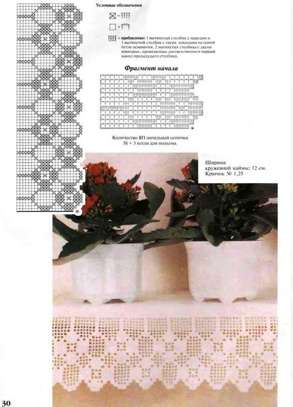 Filet crochet. Puntilla vertical. Pattern. Patrón. | Vzory ...