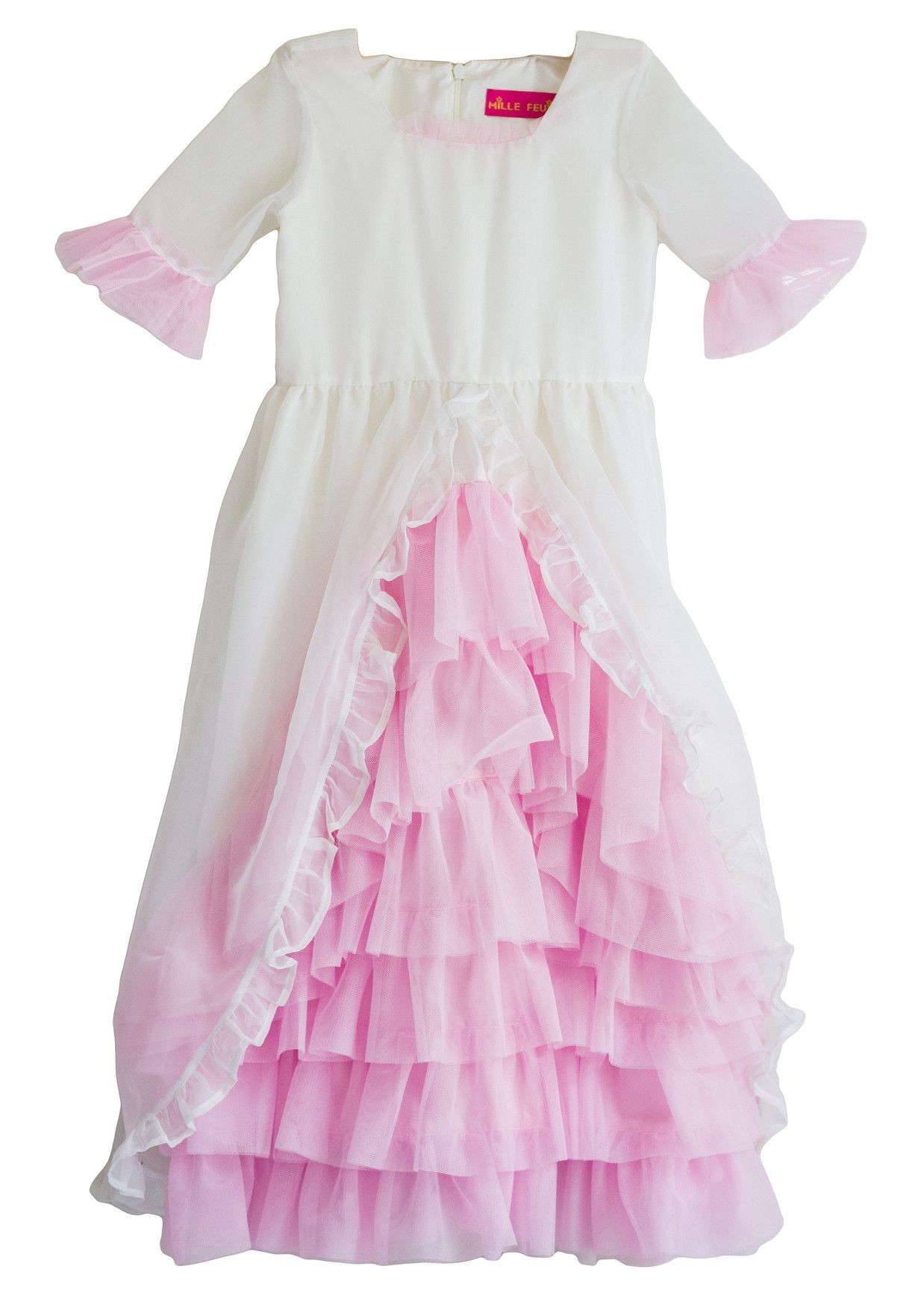 Madame Royale Vintage Style Flower Girl Dress Ivory And Pink All