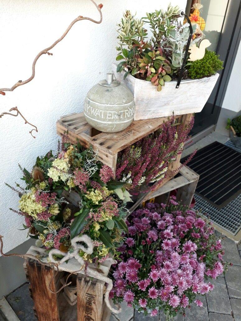 Herbstliche Kisten Dekoration Herbst Dekoration Eingangsbereich Draussen