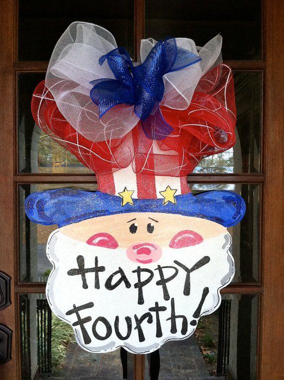 Happy Fourth Door Hanger by BronwynHanahanArt on Etsy, $45.00