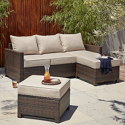 Jakarta Chaise And Footstool Linen Home Amp Garden George At Asda Outdoor Furniture Sets Garden Furniture Footstool