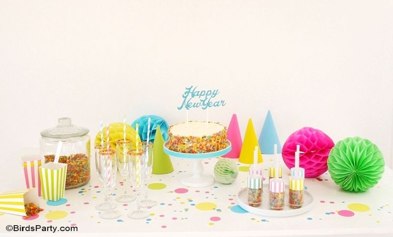 New Year's Eve DIY Party Ideas for Kids - confetti themed and super easy for last-minute celebrations - BirdsParty.com