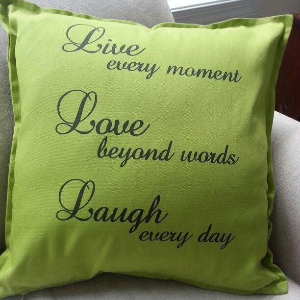 Live, Love, Laugh <3 Green throw cushion! Order yours now through our website or give us a call.
