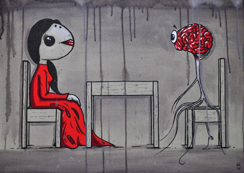 The brain is present - Mixed media on canvas , 50x70cm - 2014  Copyright Alessio Bolognesi 2014
